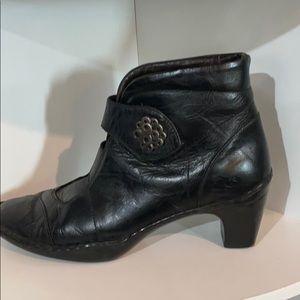 Josef Seibel handcrafted black leather booties